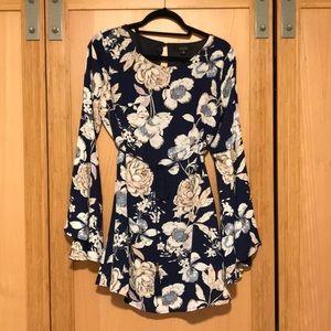 Angl Navy Blue Floral Dress